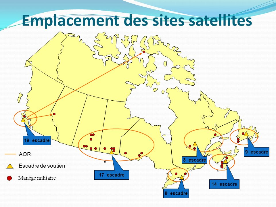 Emplacement des sites satellites
