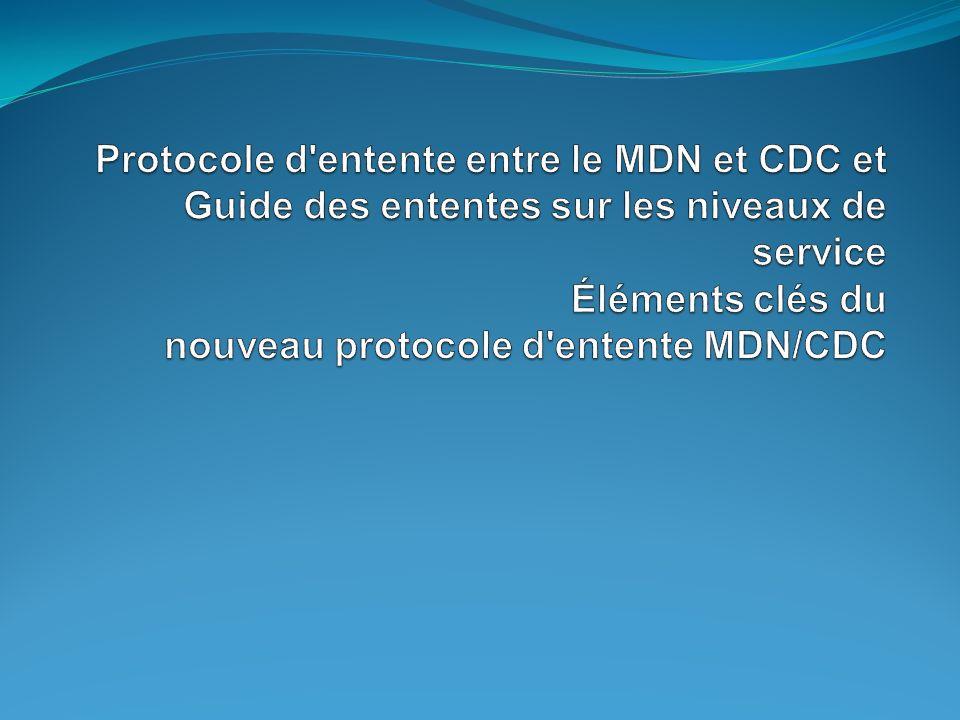 Protocole d entente entre le MDN et CDC et Guide des ententes sur les niveaux de service Éléments clés du nouveau protocole d entente MDN/CDC