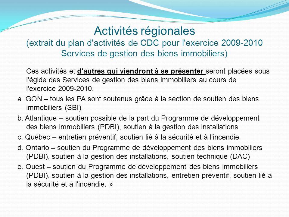 Activités régionales (extrait du plan d activités de CDC pour l exercice 2009-2010 Services de gestion des biens immobiliers)