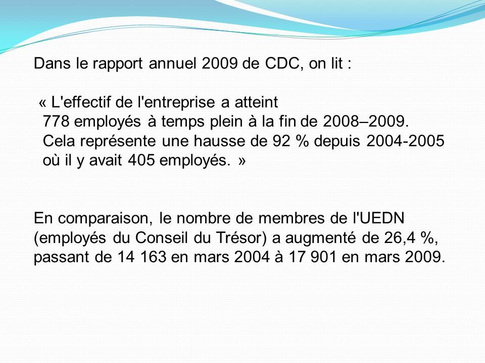 Dans le rapport annuel 2009 de CDC, on lit :