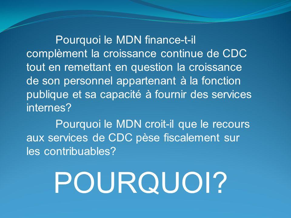 Pourquoi le MDN finance-t-il complèment la croissance continue de CDC tout en remettant en question la croissance de son personnel appartenant à la fonction publique et sa capacité à fournir des services internes