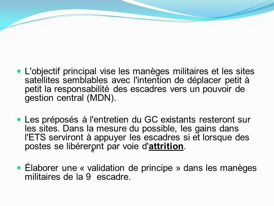 L objectif principal vise les manèges militaires et les sites satellites semblables avec l intention de déplacer petit à petit la responsabilité des escadres vers un pouvoir de gestion central (MDN).