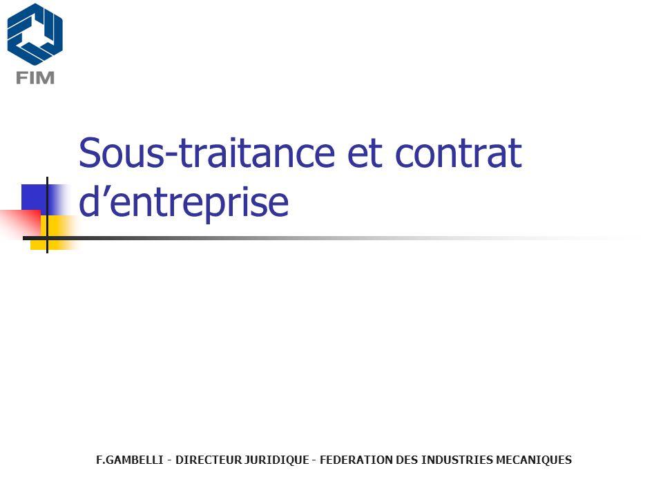 Sous-traitance et contrat d'entreprise