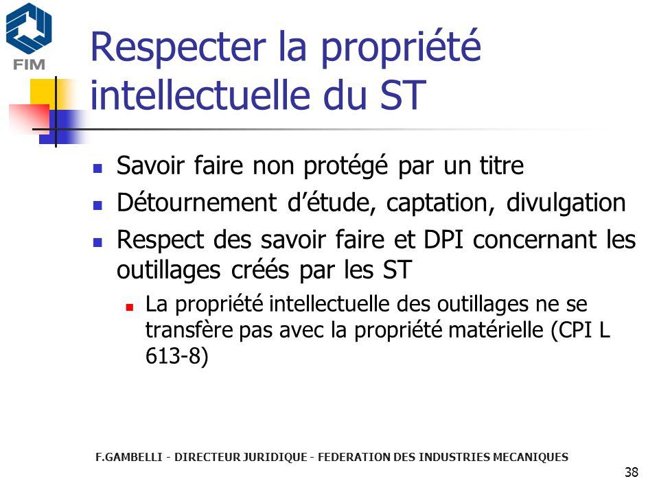 Respecter la propriété intellectuelle du ST