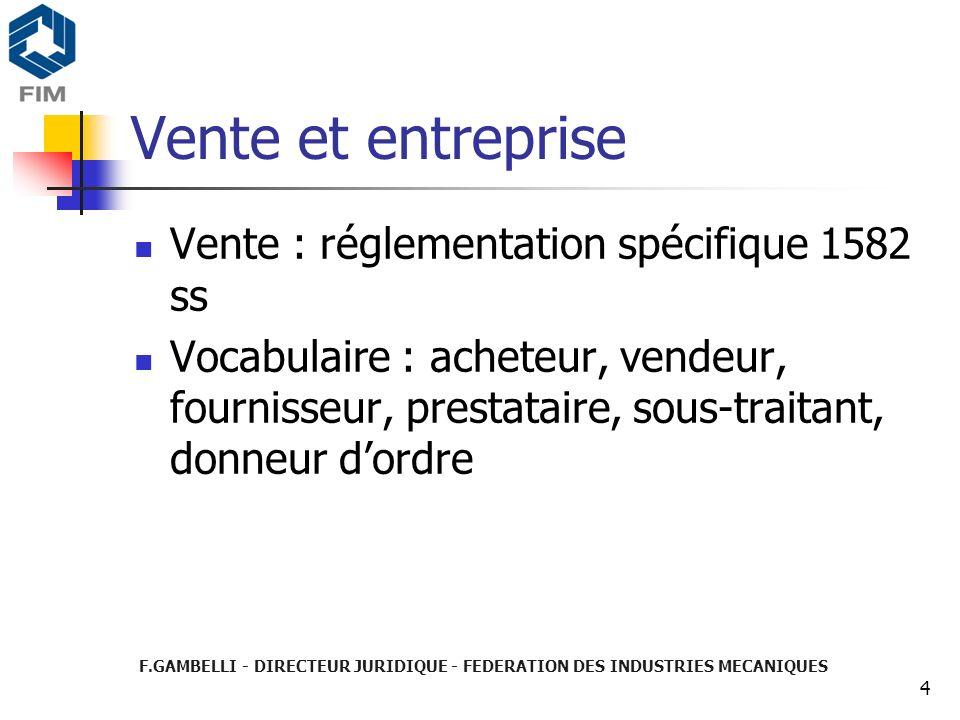 Vente et entreprise Vente : réglementation spécifique 1582 ss