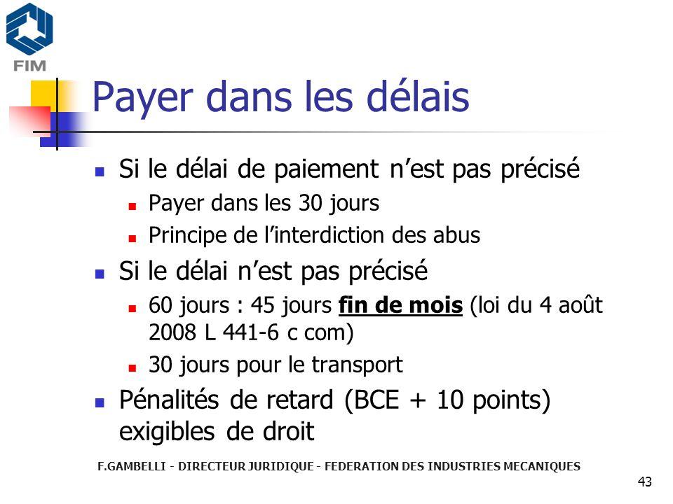 Payer dans les délais Si le délai de paiement n'est pas précisé