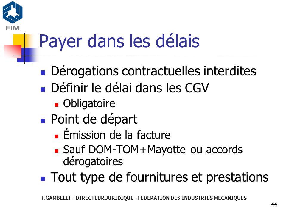 Payer dans les délais Dérogations contractuelles interdites
