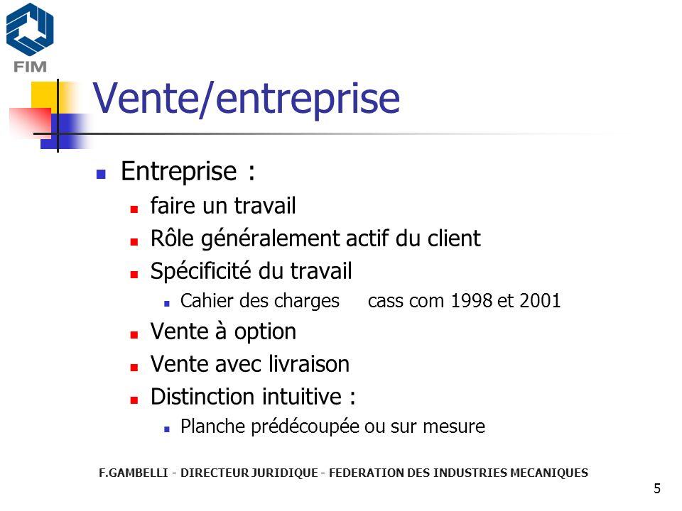 Vente/entreprise Entreprise : faire un travail