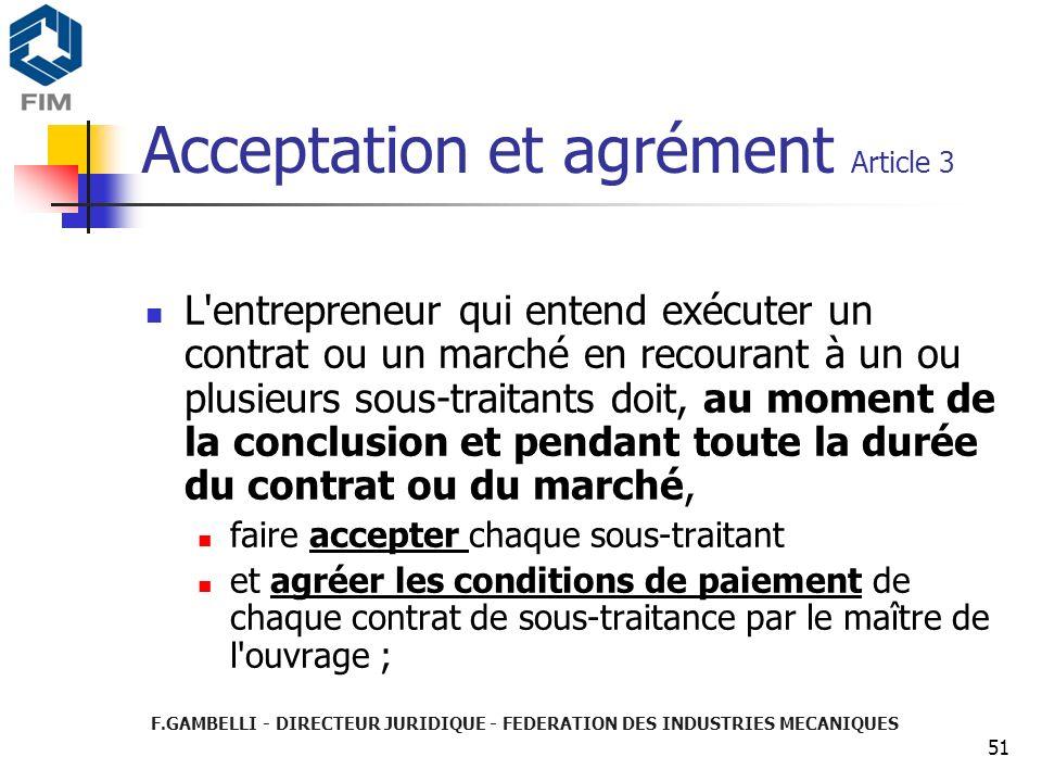 Acceptation et agrément Article 3