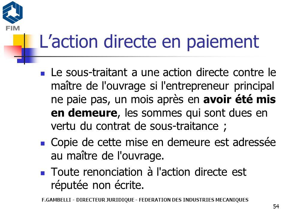 L'action directe en paiement