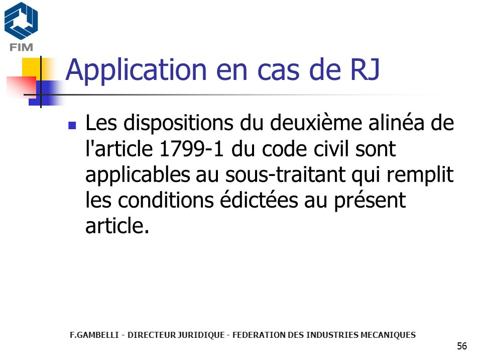 Application en cas de RJ
