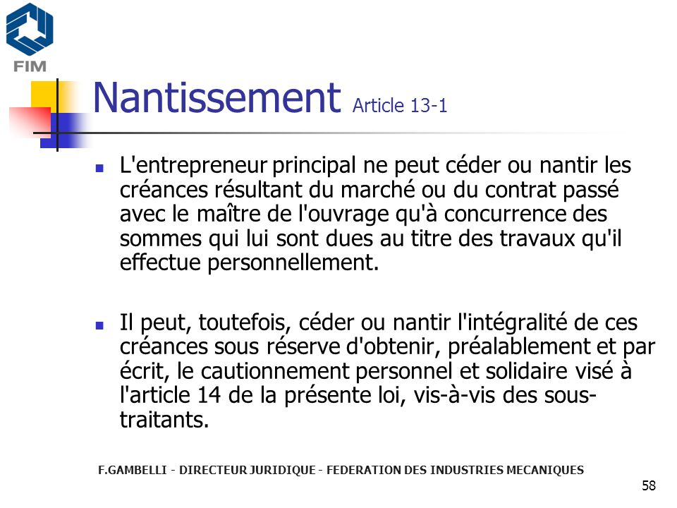 Nantissement Article 13-1