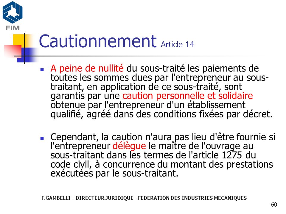 Cautionnement Article 14