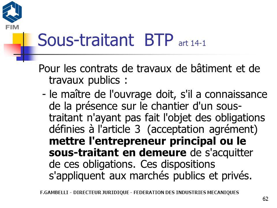 Sous-traitant BTP art 14-1