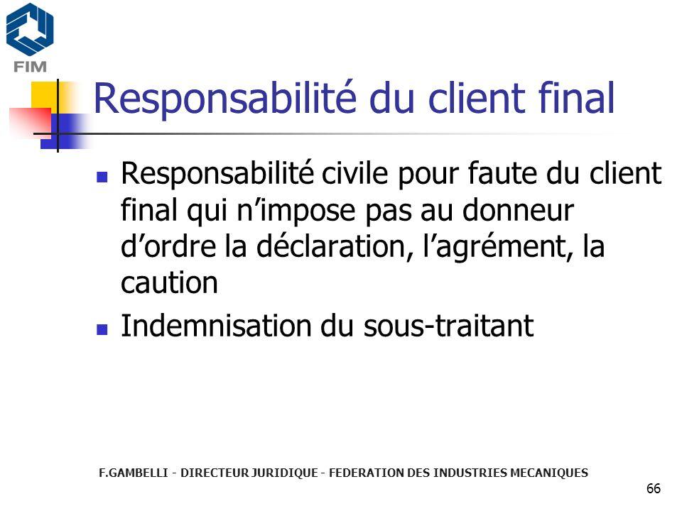 Responsabilité du client final