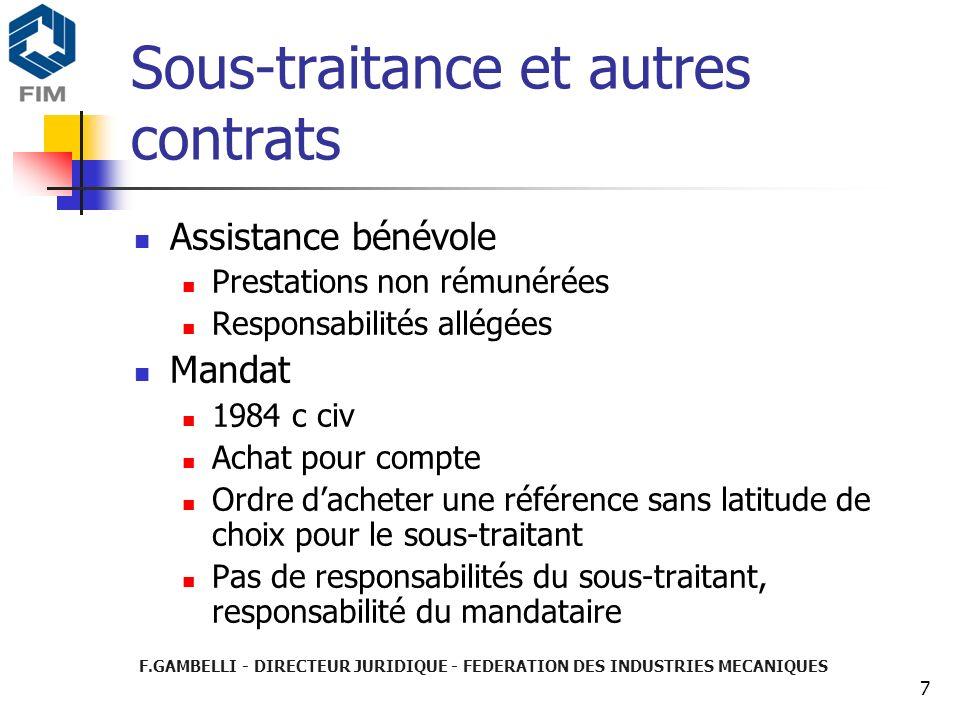 Sous-traitance et autres contrats