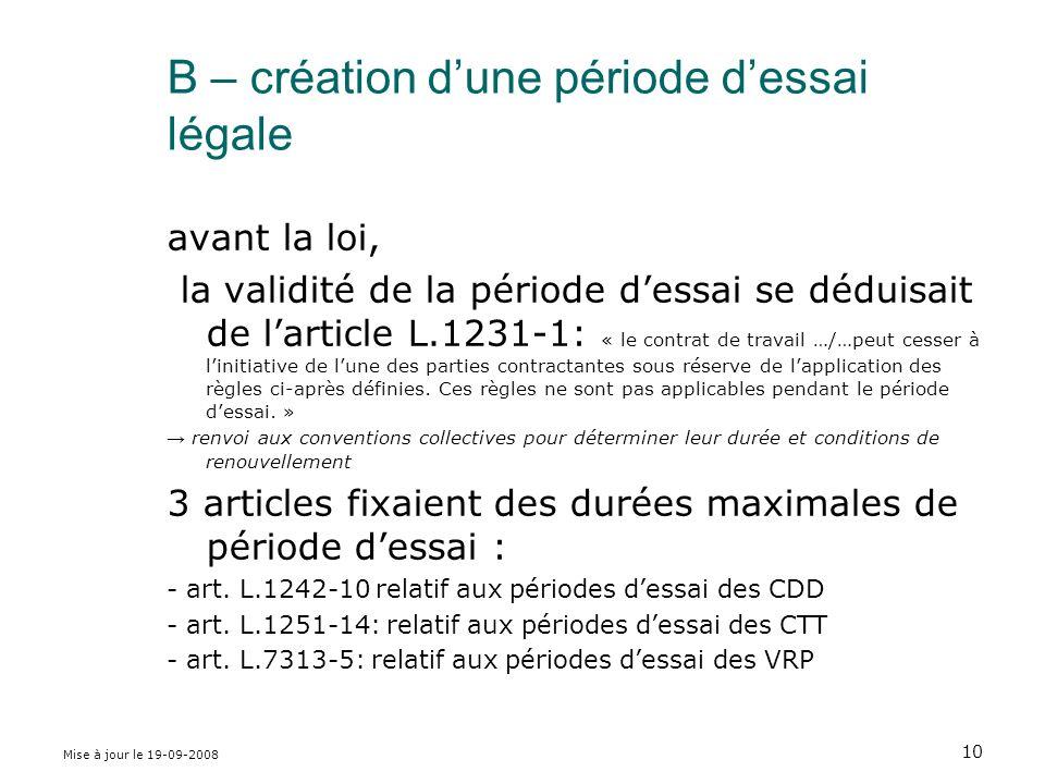 B – création d'une période d'essai légale