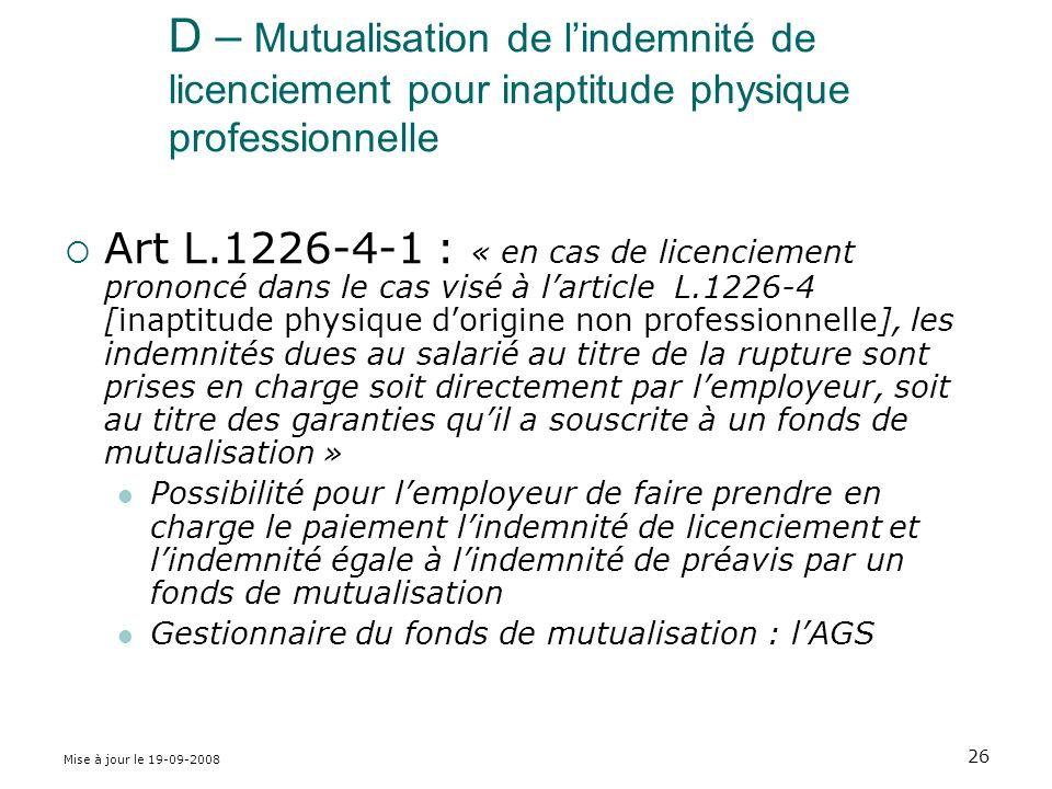 D – Mutualisation de l'indemnité de licenciement pour inaptitude physique professionnelle