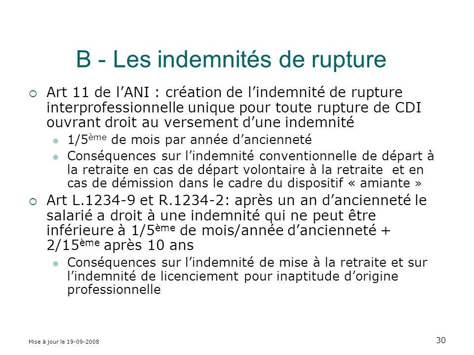 B - Les indemnités de rupture
