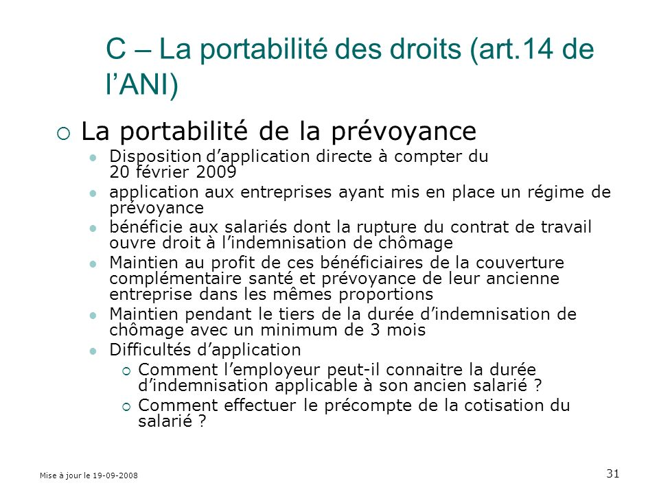 C – La portabilité des droits (art.14 de l'ANI)