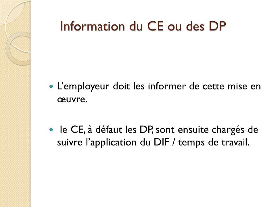 Information du CE ou des DP
