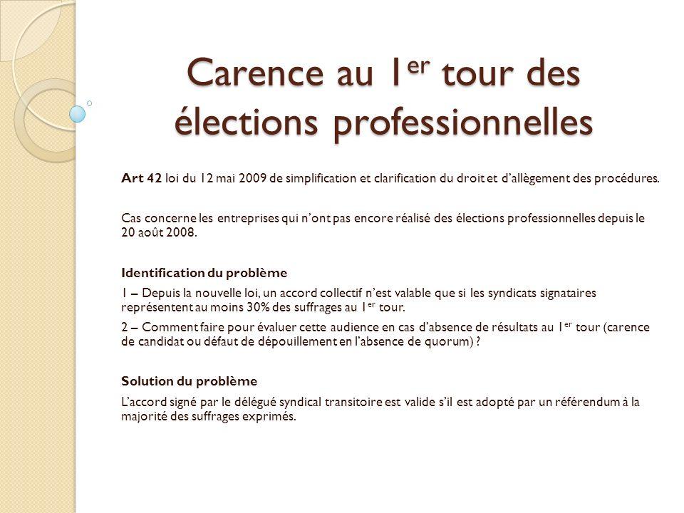 Carence au 1er tour des élections professionnelles
