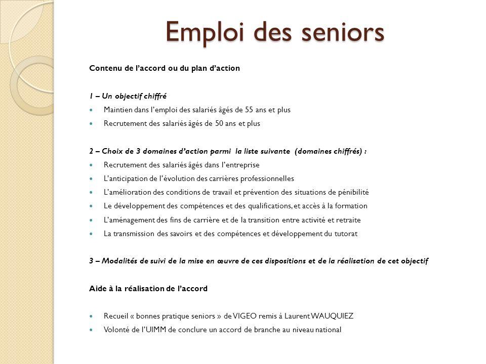 Emploi des seniors Contenu de l'accord ou du plan d'action
