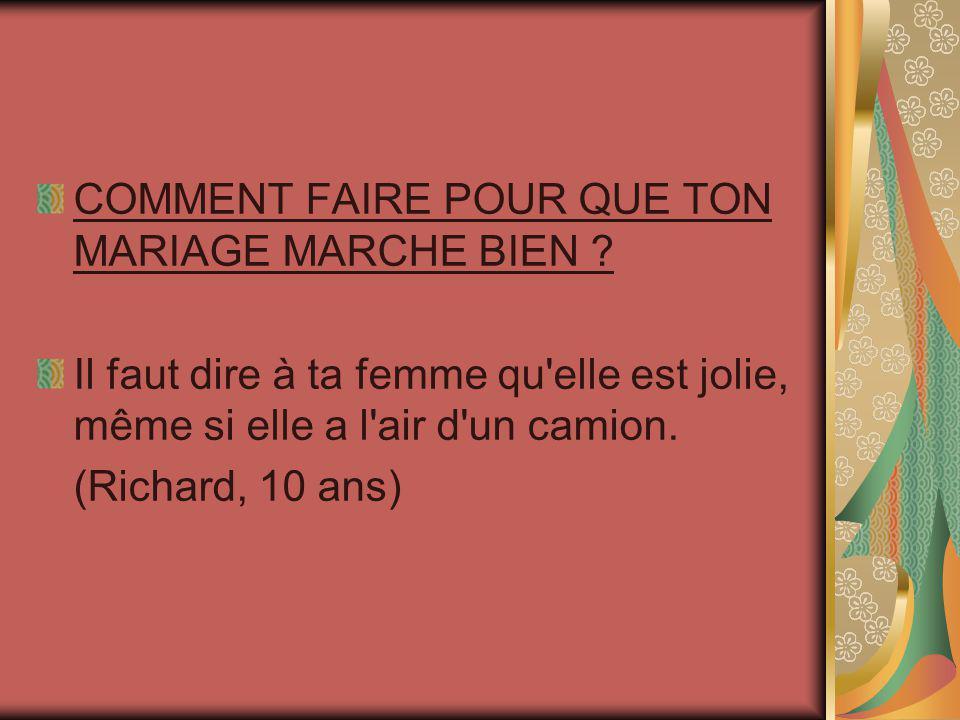 COMMENT FAIRE POUR QUE TON MARIAGE MARCHE BIEN