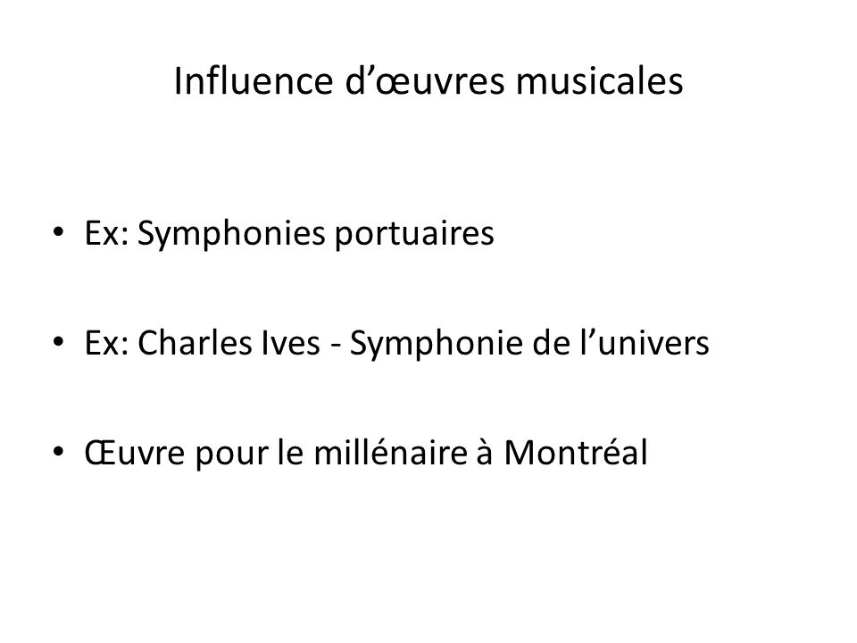 Influence d'œuvres musicales