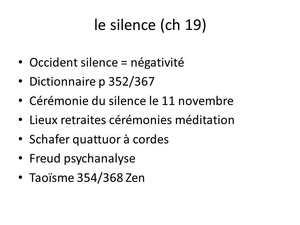 le silence (ch 19) Occident silence = négativité