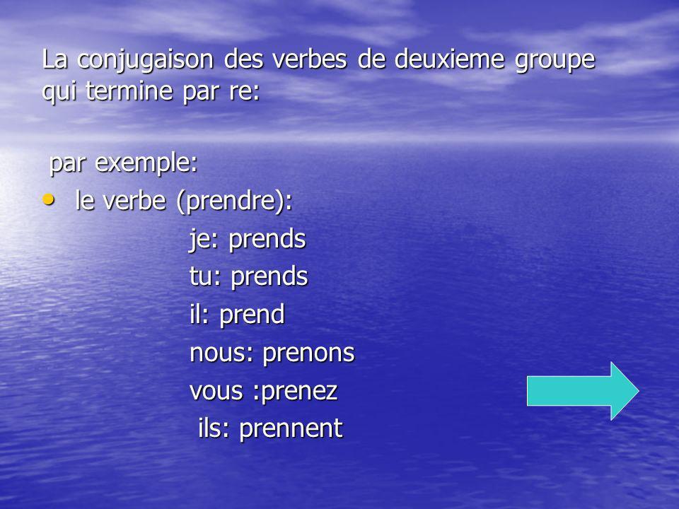La conjugaison des verbes de deuxieme groupe qui termine par re: