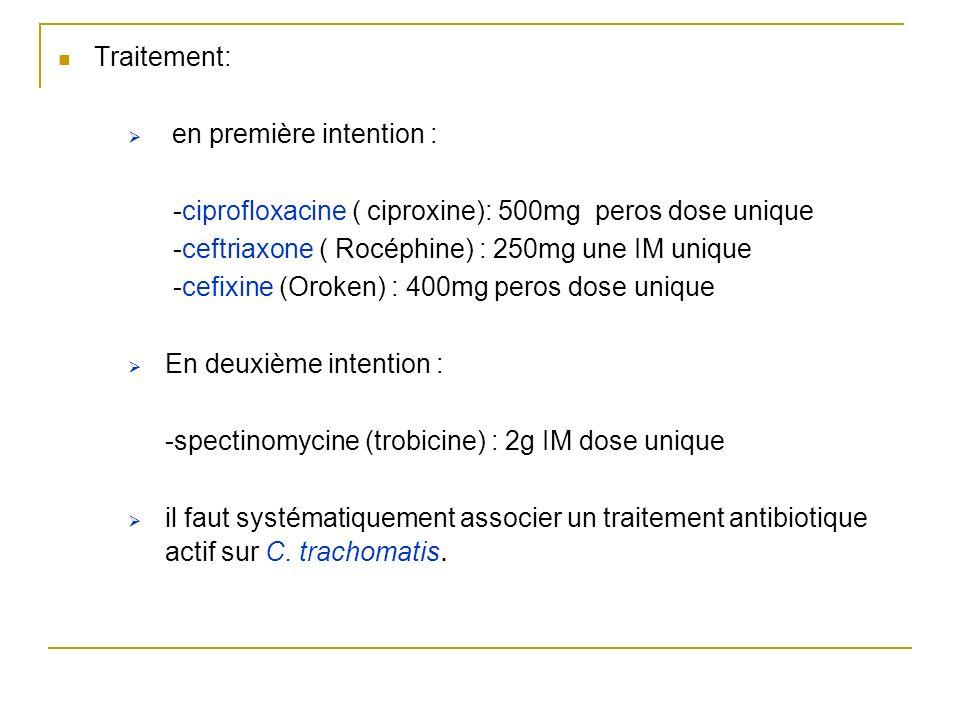 Traitement: en première intention : -ciprofloxacine ( ciproxine): 500mg peros dose unique. -ceftriaxone ( Rocéphine) : 250mg une IM unique.