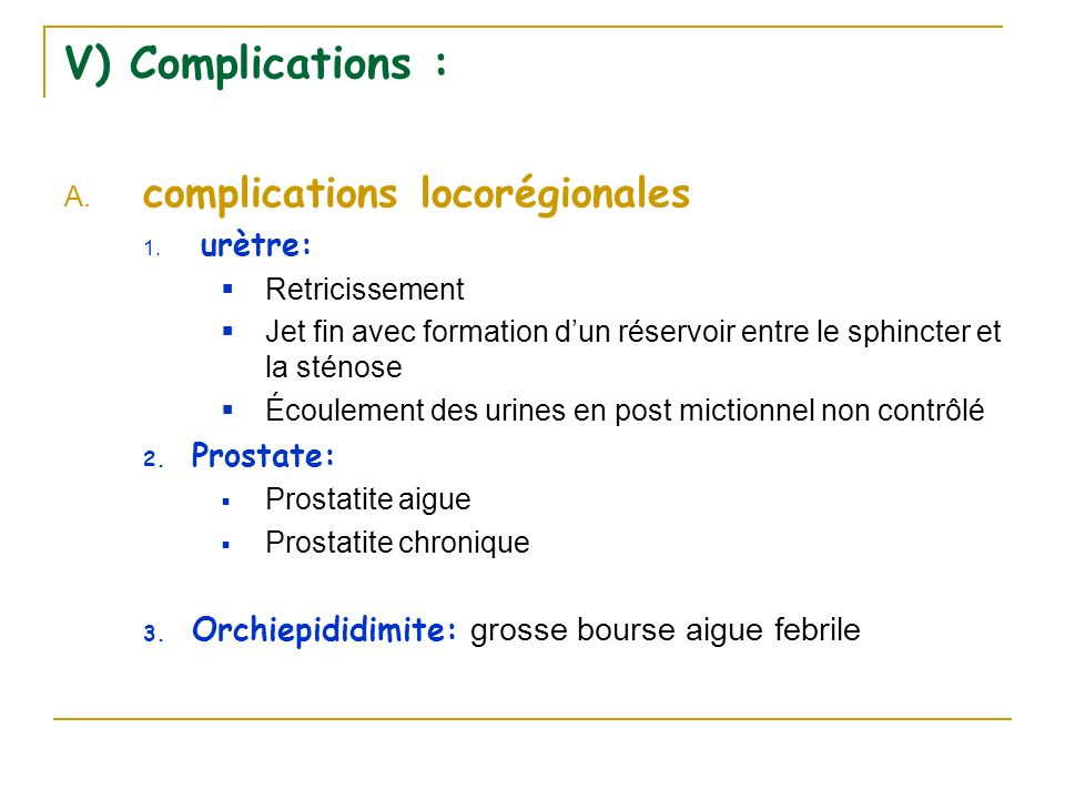 complications locorégionales