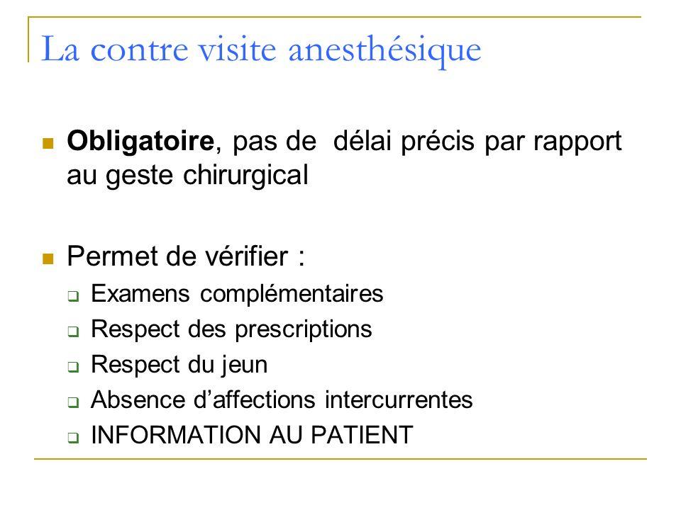 La contre visite anesthésique