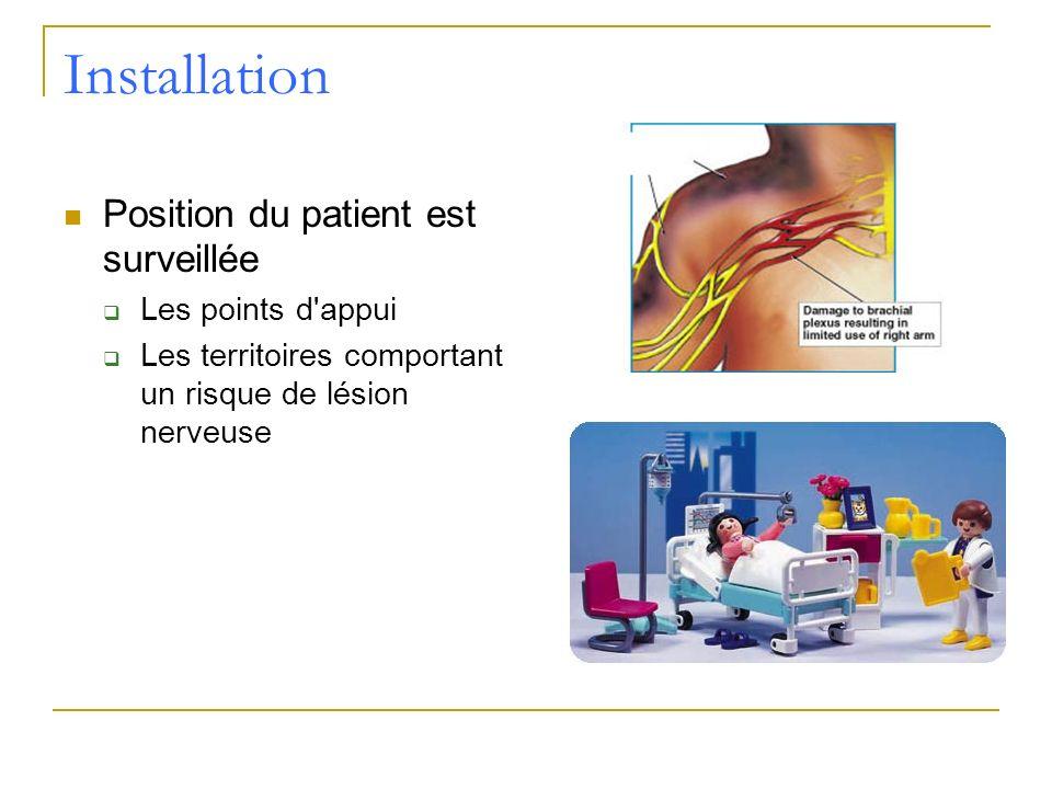 Installation Position du patient est surveillée Les points d appui