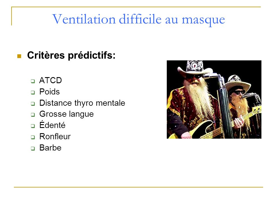 Ventilation difficile au masque