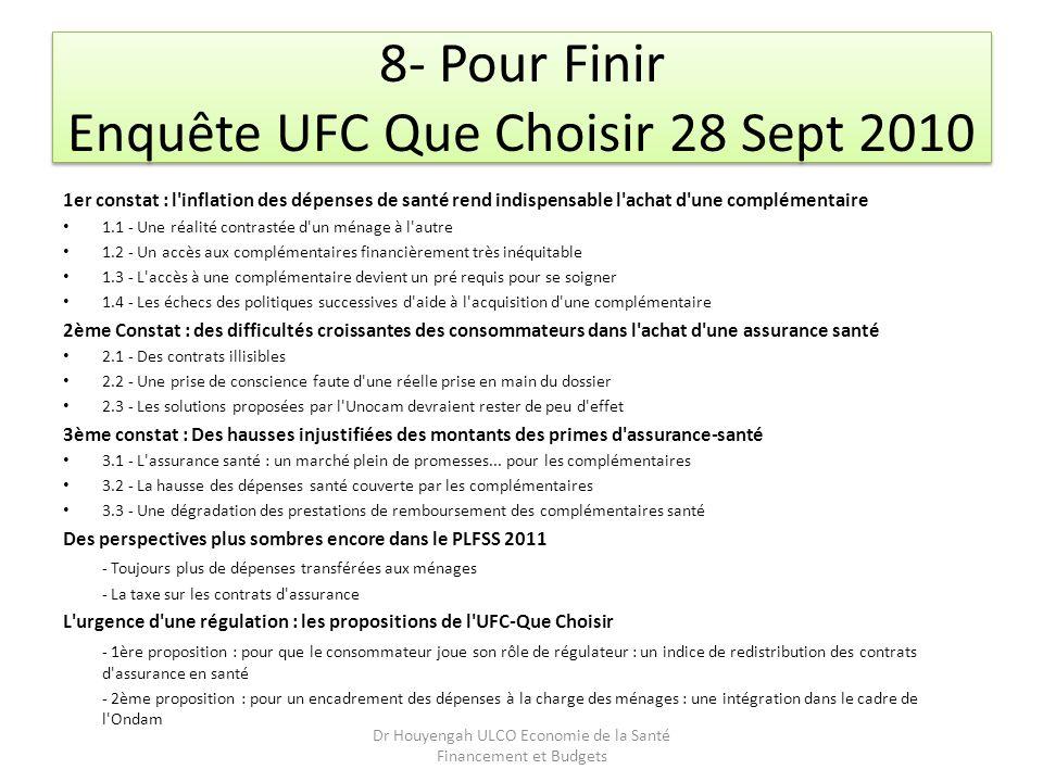 8- Pour Finir Enquête UFC Que Choisir 28 Sept 2010