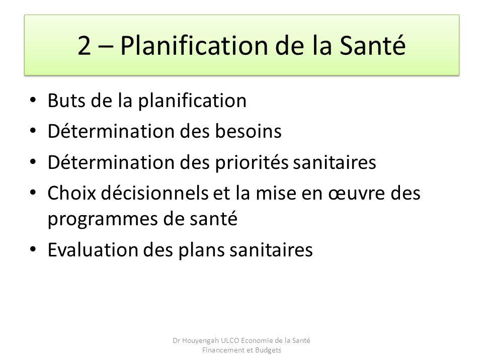 2 – Planification de la Santé