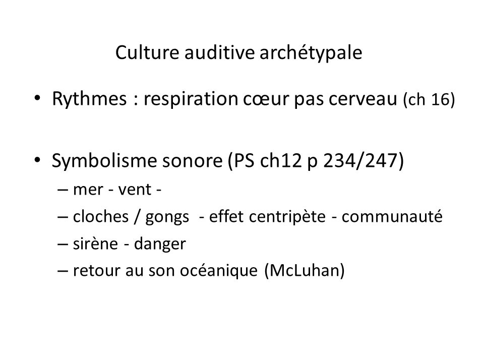 Culture auditive archétypale