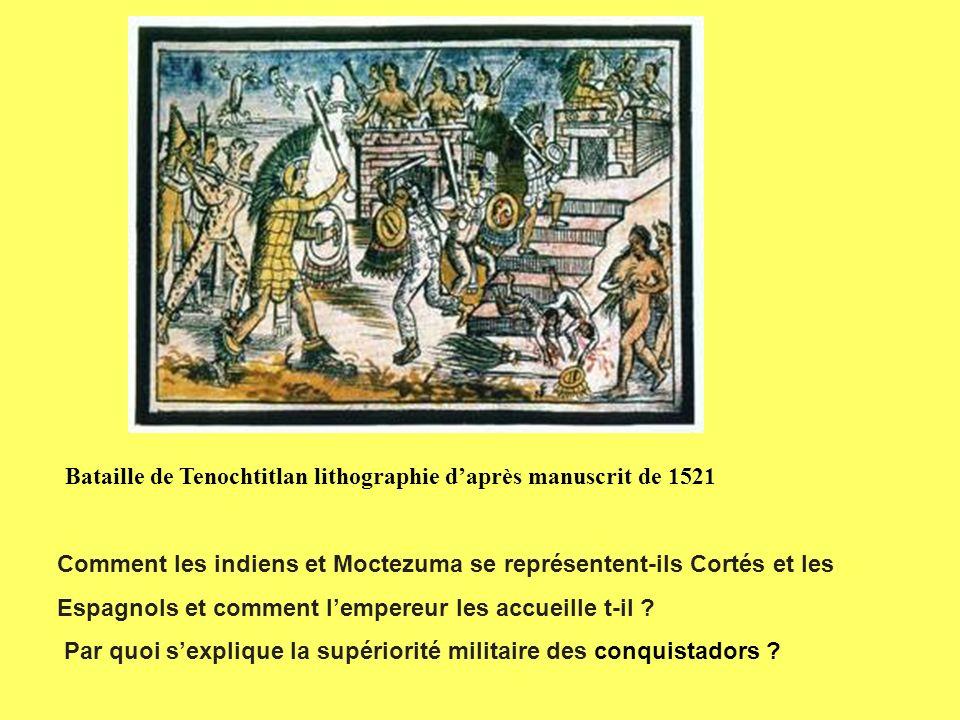 Bataille de Tenochtitlan lithographie d'après manuscrit de 1521