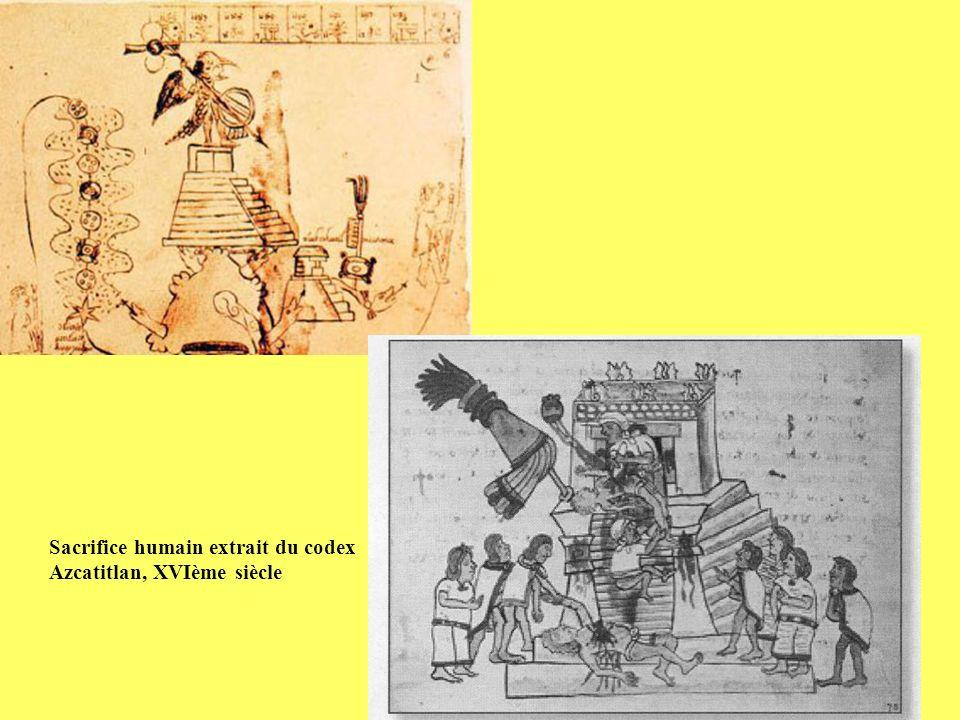 Sacrifice humain extrait du codex Azcatitlan, XVIème siècle