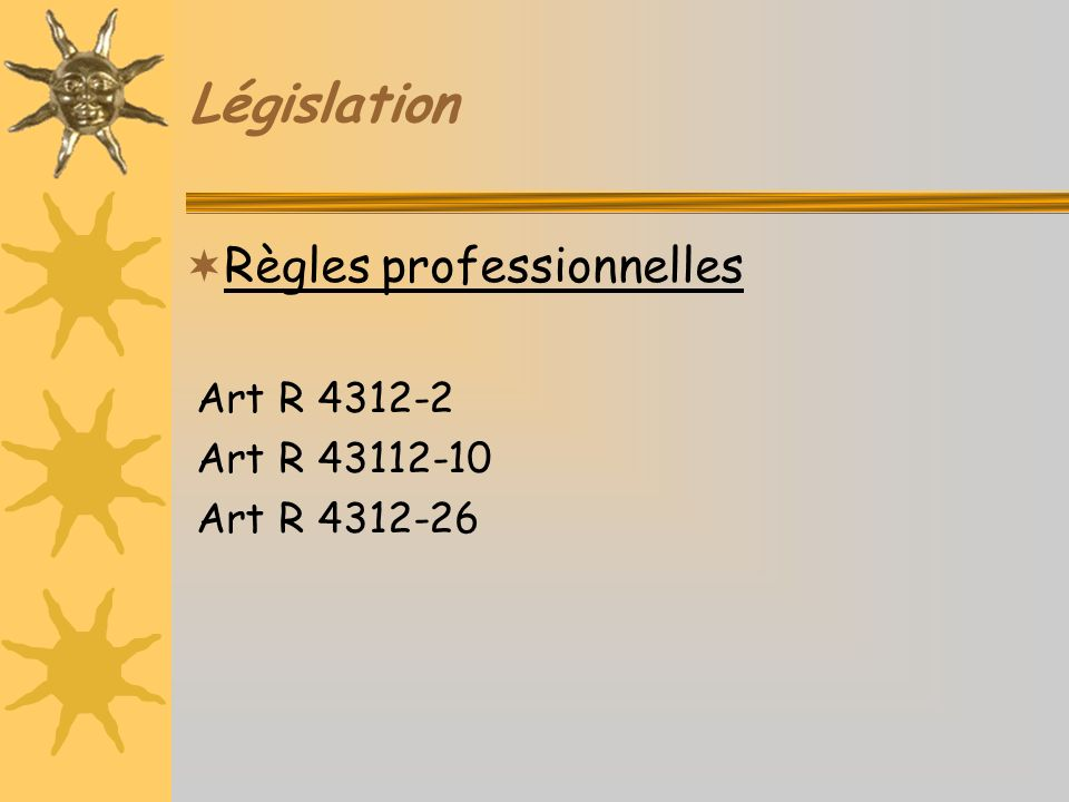 Législation Règles professionnelles Art R 4312-2 Art R 43112-10