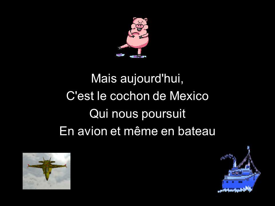 C est le cochon de Mexico Qui nous poursuit En avion et même en bateau