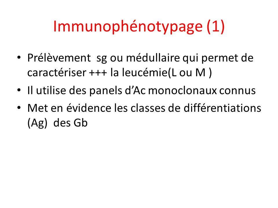 Immunophénotypage (1)Prélèvement sg ou médullaire qui permet de caractériser +++ la leucémie(L ou M )