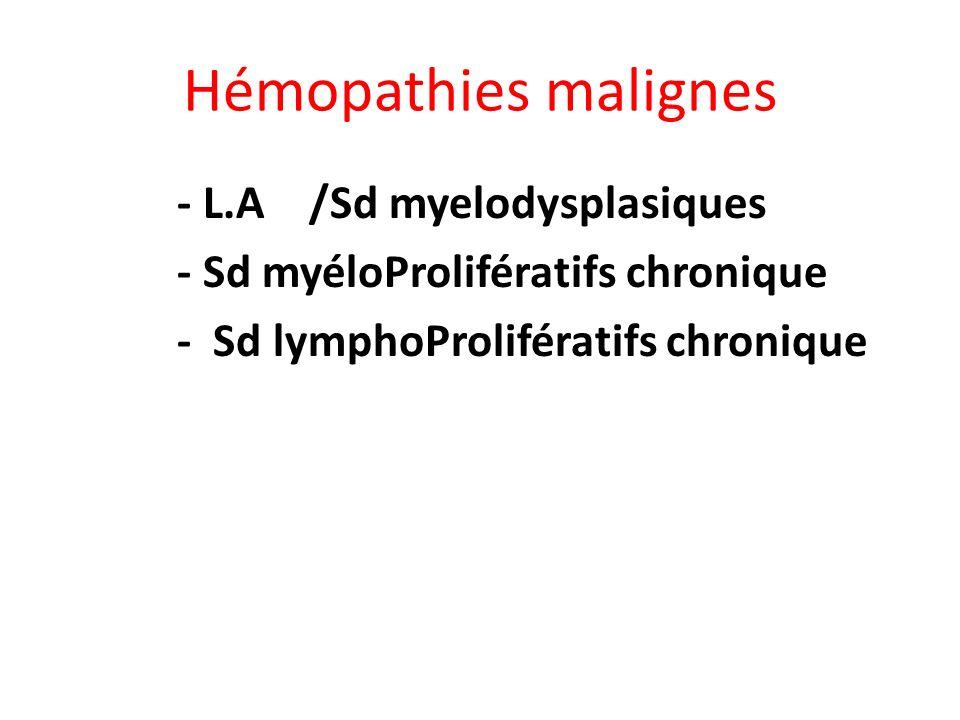 Hémopathies malignes - L.A /Sd myelodysplasiques