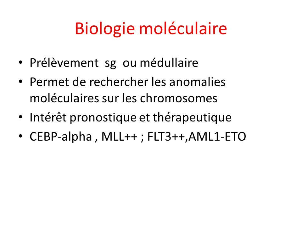 Biologie moléculaire Prélèvement sg ou médullaire