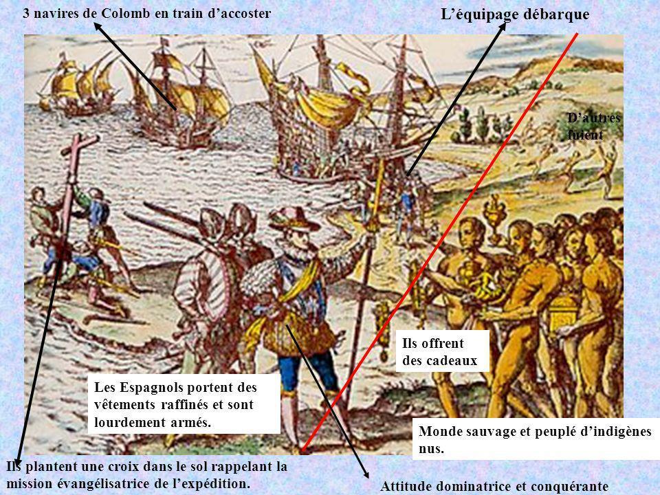 L'équipage débarque 3 navires de Colomb en train d'accoster
