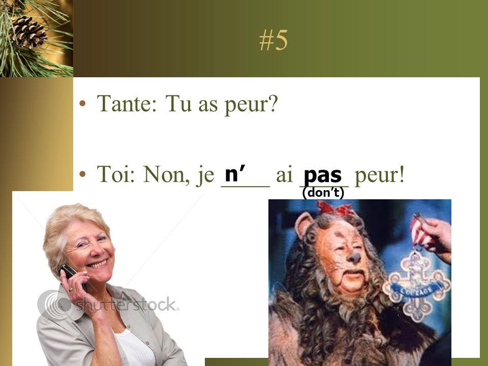 #5 Tante: Tu as peur Toi: Non, je ____ ai ____ peur! n' pas (don't)
