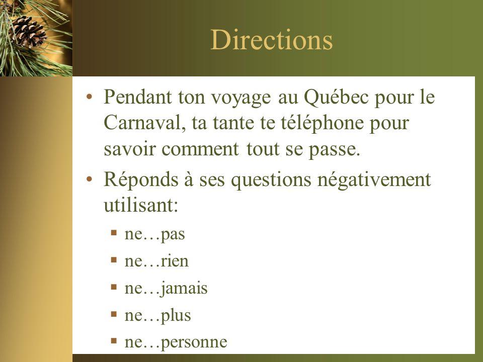 Directions Pendant ton voyage au Québec pour le Carnaval, ta tante te téléphone pour savoir comment tout se passe.