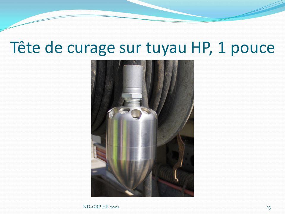 Tête de curage sur tuyau HP, 1 pouce